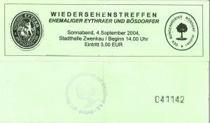 Eintrittkarte zum 1. Eythratreffen in Zwenkau